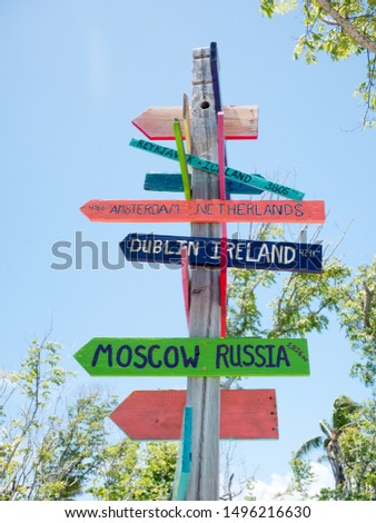Funny direction signpost with distance to many different countries