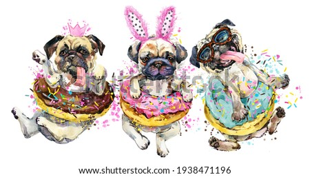 Funny dog puppies. Pug breed watercolor illustration  Сток-фото ©