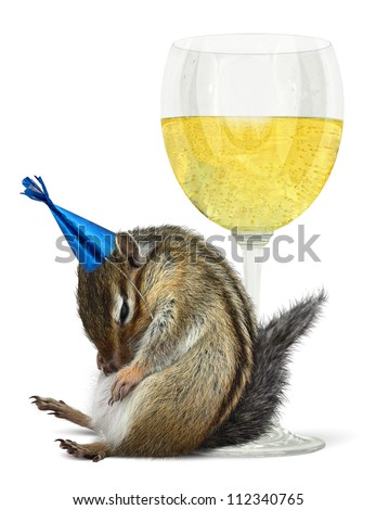 Funny drunk chipmunk with glass, celebrate concept