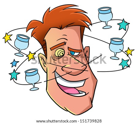 Funny drunk man - stock photo