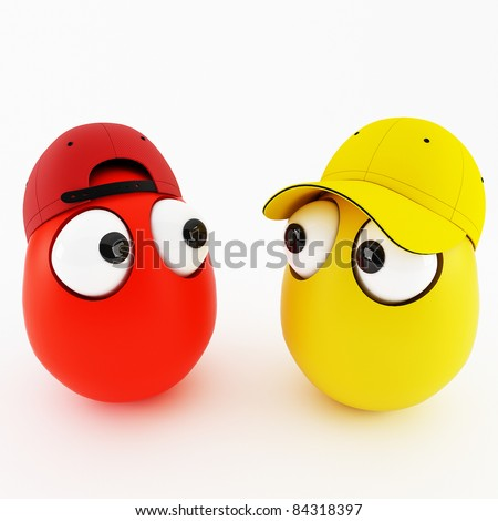 funny eggs as a cartoon 3d characters isolated over white - stock photo