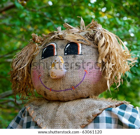 Funny face of Halloween scarecrow that is not very scary