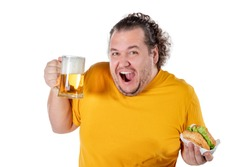 Funny fat man eating burger and drinking alcohol beverage on white background