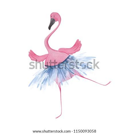Funny flamingo ballerina. Watercolor illustration