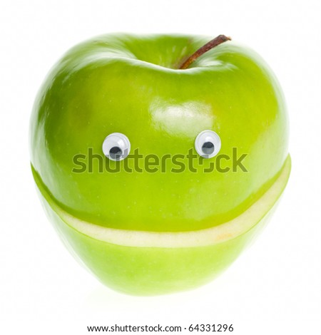 Funny fruit character Green Apple on white background