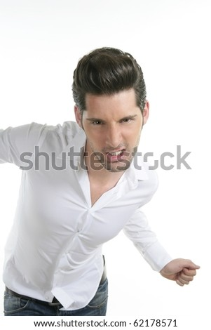 funny gesture dancing young male man isolated on white background