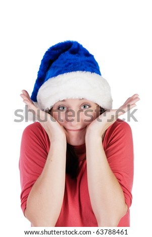 Funny girl fooling around in a Santa Claus hat