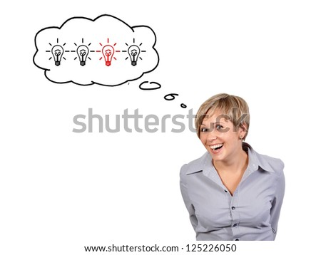 funny girl on a white background