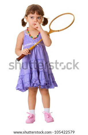 Funny girl picks his nose, instead of playing badminton isolated on white background