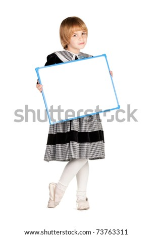 funny girl with blank board