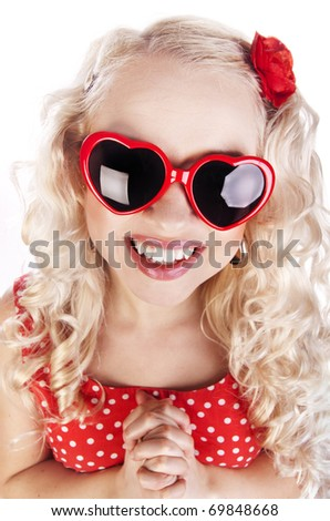 Funny girl with heart glasses