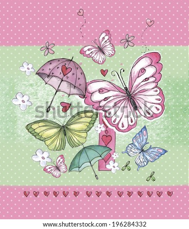 funny girls background with butterflies
