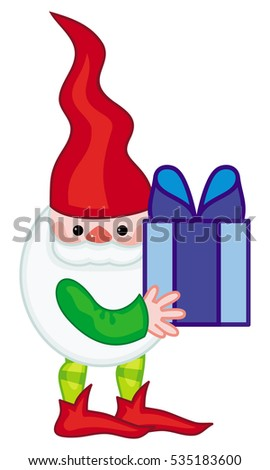 Funny gnome with boxes of presents. Cute character for Christmas decorations, greetings cards and other design artworks. Raster clip art.