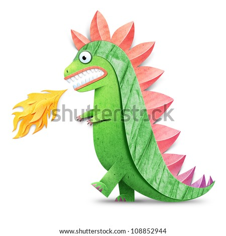 Funny godzilla spewing fire illustration. Paper cut illustration. Isolated on white background