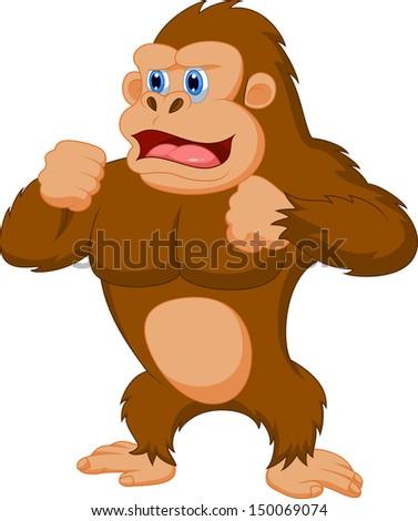Happy Cartoon Gorilla Face Funny gorilla cartoon