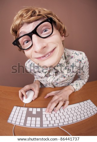 Funny guy at the computer, similar available in my portfolio