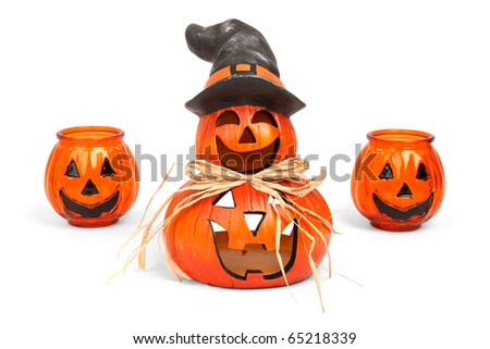 funny halloween candle holders isolated on white background