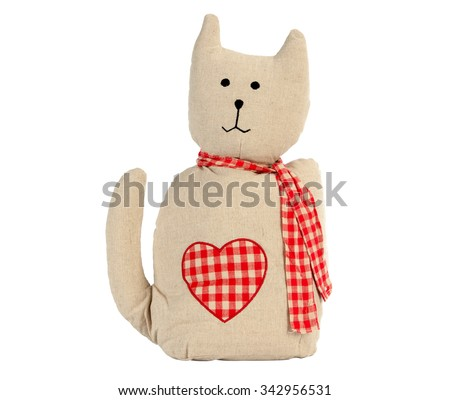 Funny handmade toy cat isolated on white, Pattern Fabric #342956531