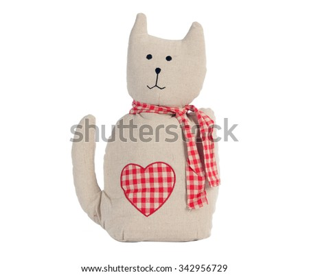 Funny handmade toy cat isolated on white, Pattern Fabric #342956729