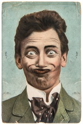 funny handsome man with crazy smile. vintage aged paper picture