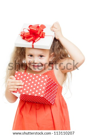 funny happy child girl opening gift box