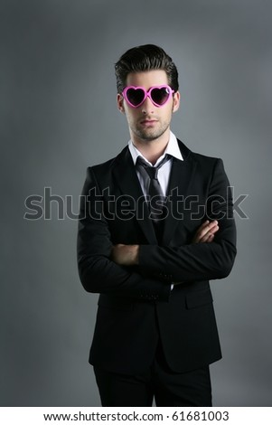 funny heart shape pink sunglasses modern fashion businessman