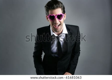 funny heart shape pink sunglasses modern fashion businessman