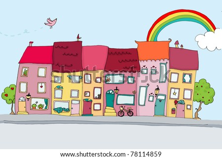 funny houses in happy city landscapes. digital