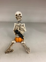 Funny Human skeleton sitting with pumpkin, black crow and cat.  An image composed for Halloween celebration party fun. Ideal for greeting cards and more