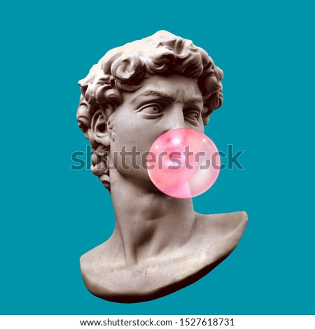 Funny illustration from 3d rendering of classical head sculpture blowing a pink chewing gum bubble. Isolated on blue background.