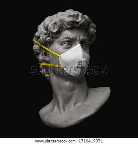 Funny illustration from 3d rendering of classical head sculpture with face mask for virus protection. Isolated figure on black background.