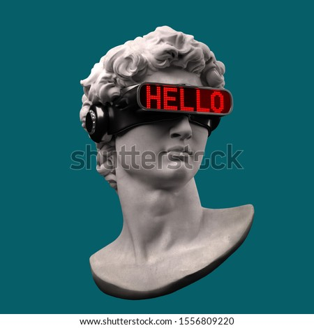 Funny illustration from 3D rendering of classical head sculpture with VR visor headset displaying HELLO word in red LED lights. Isolated on blue background.