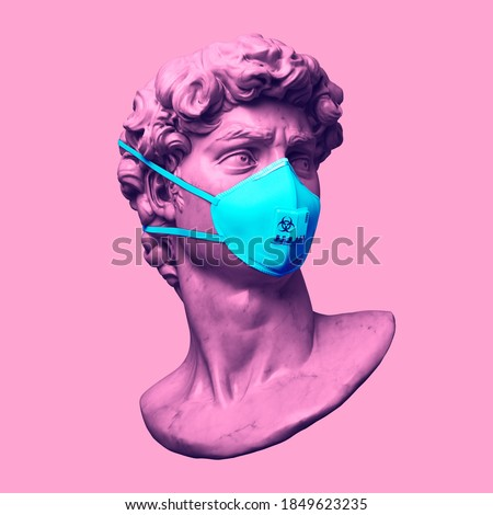 Funny illustration from 3d rendering of pink Michelangelo's David classical head sculpture with blue face mask for virus protection in vaporwave style. Isolated figure on pink background.