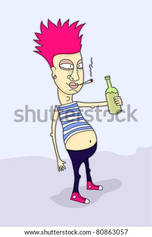 Funny illustration of a punk smoking and holding a bottle.