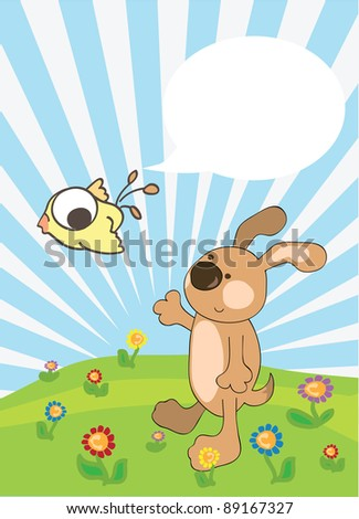 Funny illustration of dog and bird with bubble speech - stock photo