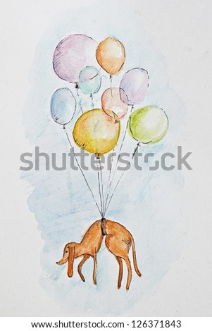 Funny illustration of the dog flying in the sky with balloons