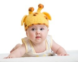 funny infant baby isolated on white
