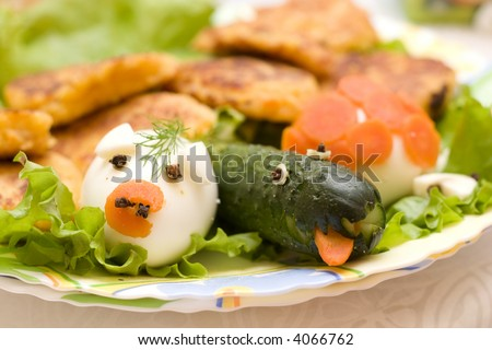 funny infant food - egg and cucumber designed like animals