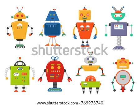 Funny Isolated robot set. Future robots isolated on white. Flat  illustration set.