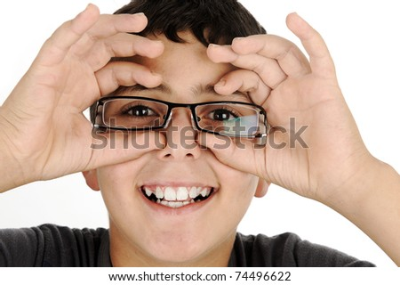 funny kid boy with glasses