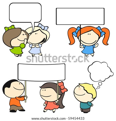 Funny kids #8 - banners and speech bubbles (raster version) - stock photo