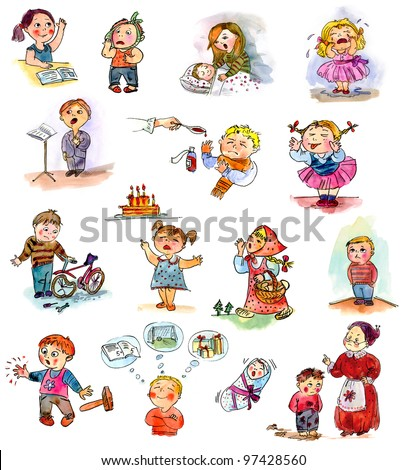 Funny kids on a white background. Freehand drawing. Child's picture book