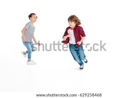Funny kids playing in play catch-up isolated on white, gaming characters concept