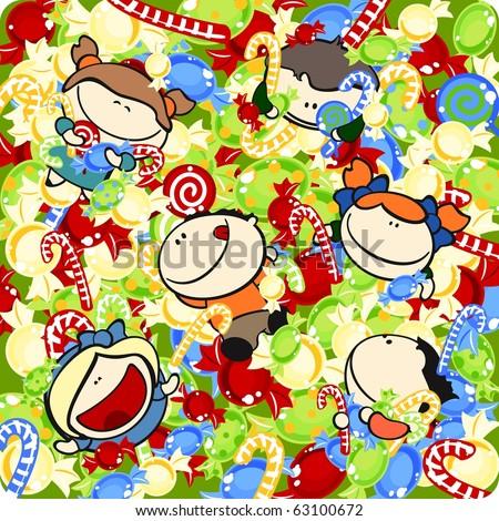 Funny kids #6 - pool of sweets (raster version)