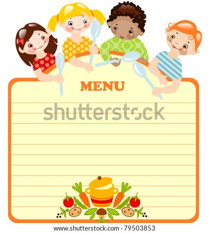 funny kids with spoons.menu.