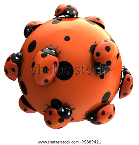 Funny ladybugs. Digital illustration.