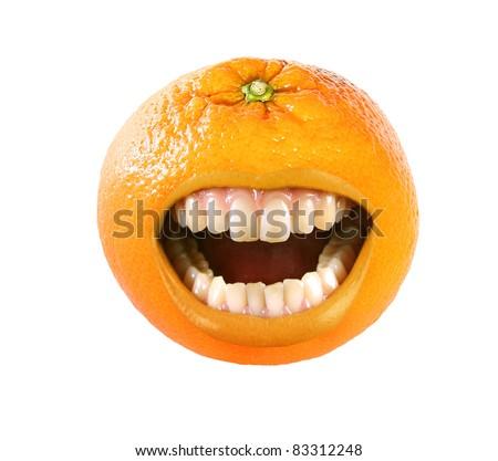 funny laughing orange on white