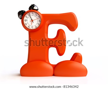 Funny Letter E with Alarm Clock in 3D - stock photo
