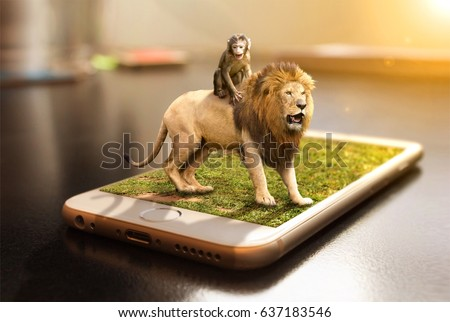 funny lion and monkey in out of bounds 3d effect from hand phone