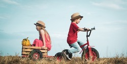 Funny little couple with vintage bike. Two young farmers. Sister and brother on bike in field. Childhood memories. Summer at countryside. Children enjoy in farm